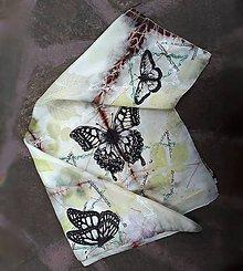 Šatky - Motýlie prelúdium-hodvábna ecoprint šatka - 10838127_