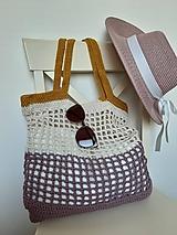 Nákupné tašky - Sieťovka Ametyst-smotana-kari - 10839791_