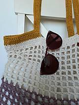 Nákupné tašky - Sieťovka Ametyst-smotana-kari - 10839797_