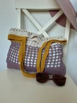 Nákupné tašky - Sieťovka Ametyst-smotana-kari - 10839798_