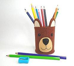 Detské doplnky - Stojan na ceruzky (Macík) - 10838194_