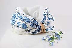 """Šatky - Kvetinový dvojitý ľanový nákrčník """"BlueLinen"""" - 10839925_"""