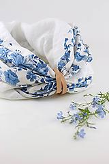 """Šatky - Kvetinový dvojitý ľanový nákrčník """"BlueLinen"""" - 10839927_"""