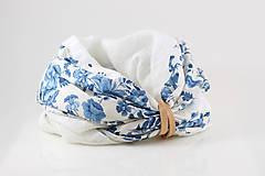 """Šatky - Kvetinový dvojitý ľanový nákrčník """"BlueLinen"""" - 10839929_"""