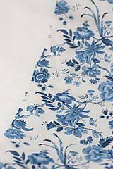 """Šatky - Kvetinový dvojitý ľanový nákrčník """"BlueLinen"""" - 10839931_"""