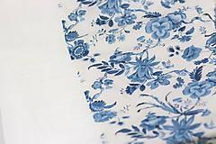 """Šatky - Kvetinový dvojitý ľanový nákrčník """"BlueLinen"""" - 10839933_"""