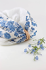 """Šatky - Kvetinový dvojitý ľanový nákrčník """"BlueLinen"""" - 10839948_"""