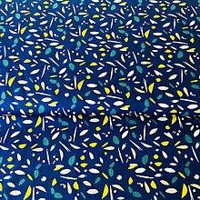 Textil - abstraktné tvary na modrej, 100 % bavlna Francúzsko, šírka 150 cm - 10838326_