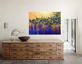 Obrazy - Modré kvety-abstrakt - 10838624_