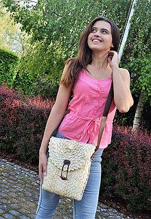 Kabelky - Obdĺžniková kabelka s bavlnenou výstelkou a koženým popruhom - 10840352_