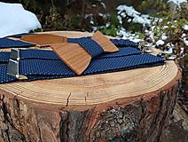 Doplnky - Pánsky set - drevený motýlik a traky - 10838573_