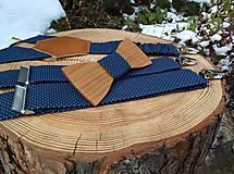 Doplnky - Pánsky set - drevený motýlik a traky - 10838574_