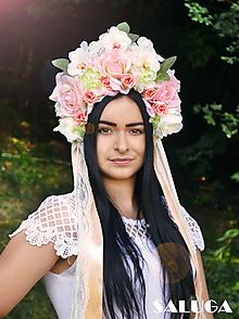 Ozdoby do vlasov - Kvetinová parta - marhuľová - folklórna - 10838831_