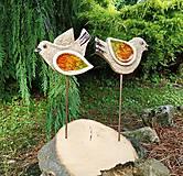 Dekorácie - Keramické vtáčiky so sklom - zápichy. - 10838735_