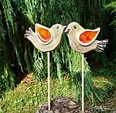Dekorácie - Keramické vtáčiky so sklom - zápichy - 10838763_