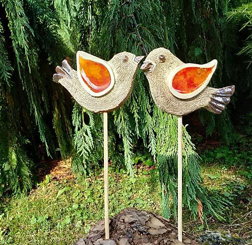Keramické vtáčiky so sklom - zápichy