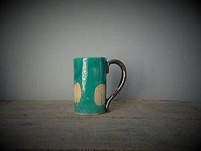 Nádoby - tyrkysová šáločka s lístočkami - 10839818_