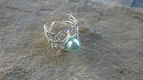 Filigránový prsteň s perlou (farba kovu striebro, svetlo modrá perla, č. 2748)