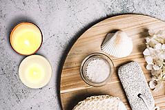 Svietidlá a sviečky - Sviečka - Kamenná soľ s naplaveným drevom - 10838173_