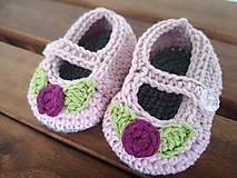 Topánočky - Háčkovaná balerínky FLOWER pre bábätko (50% merino & 50% bavlna) - 10840282_