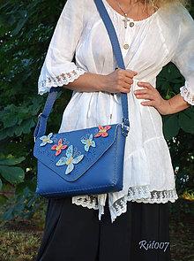 Kabelky - Kožená, ručně šitá kabelka Butterflies - 10840087_