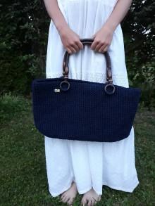 Veľké tašky - Modrá kabelka - toutka :) s pevným uchopením - 10840143_