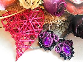 Náušnice - čierno/fialové šujtašove náušnice - 10839869_