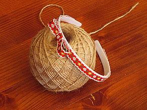 Ozdoby do vlasov - Červená folklórna čelenka - 10840102_