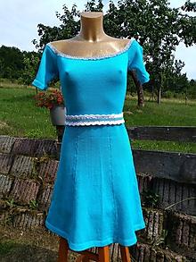 Šaty - Pletené bavlnené šaty - 10839706_