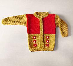 Detské oblečenie - Dievčenský svetrík s kvetmi - 10838931_