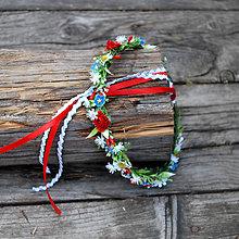 Ozdoby do vlasov - Folklórny venček jemný , drobné kvietky - 10841047_
