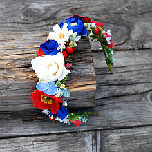 Ozdoby do vlasov - Čelenka, venček s  ružičkami , makom, folklórna - 10842319_