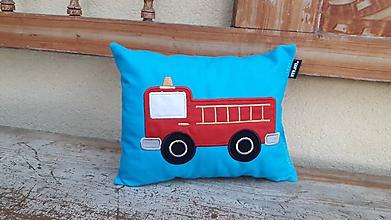 Textil - požiarnické auto - vankúšik - 10843289_