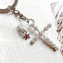 Náhrdelníky - Keychain Cross / Kľúčenka s príveskom kríža, praskaného krištáľu a hviezdy - 10841341_