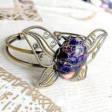 Náramky - Butterfly Bracelet / Náramok v tvare motýľa s minerálom v bronzovom prevedení (Variscit (jaspis)) - 10841548_