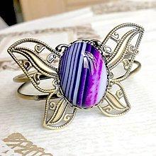 Náramky - Butterfly Bracelet / Náramok v tvare motýľa s minerálom v bronzovom prevedení (Pásikavý achát) - 10841553_