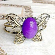Náramky - Butterfly Bracelet / Náramok v tvare motýľa s minerálom v bronzovom prevedení (Jadeit fialový) - 10841563_