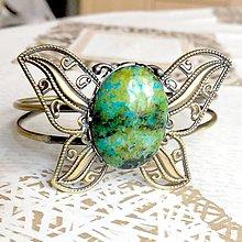 Náramky - Butterfly Bracelet / Náramok v tvare motýľa s minerálom v bronzovom prevedení (Jaspis) - 10841607_