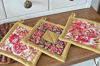Úžitkový textil - Ružičkové chňapky - 10842314_