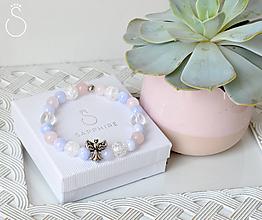 Náramky - ochranný náramok - ruženín angelit krištáľ - 10842752_