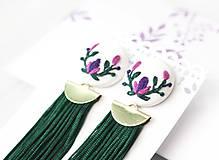 Náušnice - Náušnice so strapcom a vyšívanými kvetmi - 10840847_