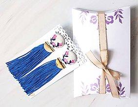 Náušnice - Náušnice so strapcom a vyšívanými kvetmi - 10840855_