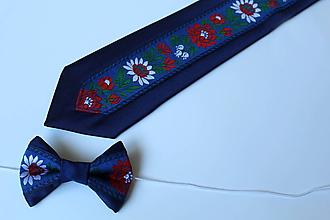 Doplnky - modrý set: OTEC A SYN (kravata +detský motýlik) - 10842764_