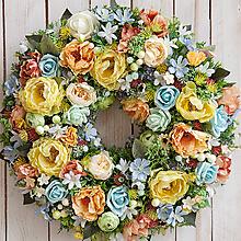 Dekorácie - Kvetinový veniec na dvere XL celoročný... letné osvieženie ... - 10843161_