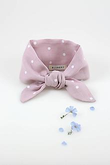 Šatky - Ružová bodkovaná šatka z jemného ľanu - 10842588_