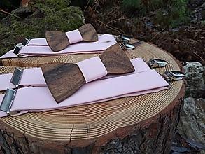 Doplnky - Pánsky set - drevený motýlik a traky - 10842404_