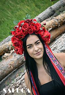 Ozdoby do vlasov - Folklórna kvetinová parta - červená - 10843018_