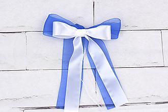 Dekorácie - Mašľa malá bielo-tmavomodrá - 10841627_
