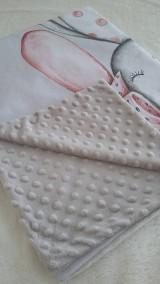 Textil - Detská deka s minky - zasnená zajačica - 10842003_