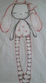 Textil - Detská deka s minky - zasnená zajačica - 10842006_